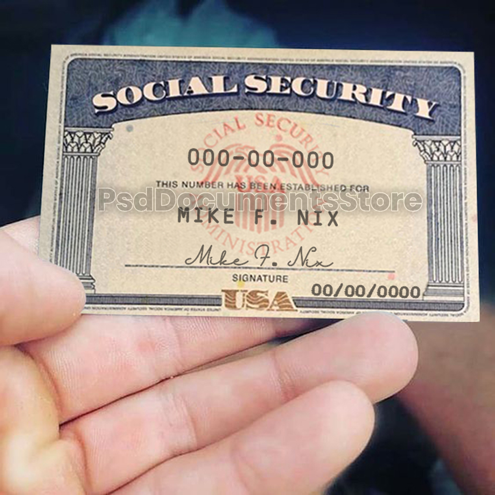 SSN Card Template - PSD Documents Store With Social Security Card Template Photoshop